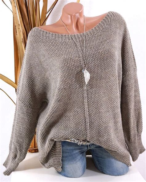 stricken winter strick pullover oversize grobstrick pulli taupe 36