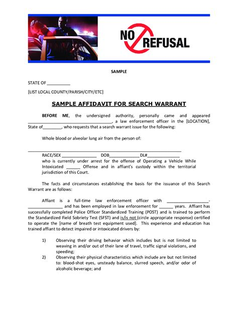 Affidavit For Search Warrant Exle Sle Affidavit For Search Warrant Edit Fill Sign Handypdf