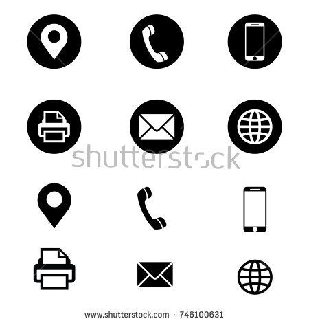business card icon template vector business card contact information icons stock