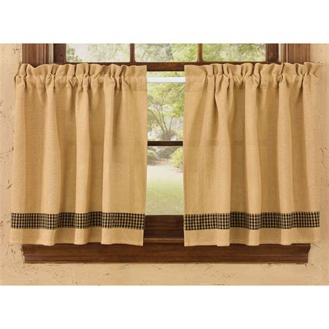 Park Designs Curtains Burlap And Check Unlined Curtain Tiers By Park Designs 24 Quot Or 36 Quot Length