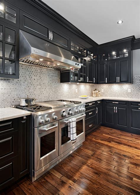 dark brown kitchen cabinets with gray walls acacia hardwood flooring an excellent choice home