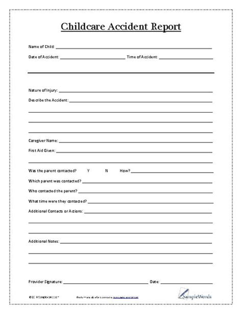 Incident Report Exle Childcare child report form child care child and daycare ideas