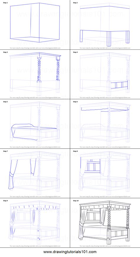 how to draw a bedroom step by step how to draw a four poster bed printable step by step