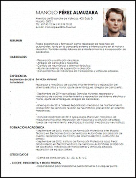 Modelo Curriculum Vitae Tecnico Mecanica Automotriz Modelo Curriculum Vitae Reparador De Taller De Coches Livecareer