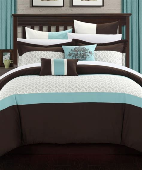 teal and brown bedding brown teal lucca embroidered bed in a bag comforter set