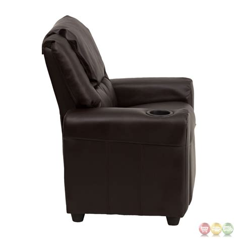 recliner with cup holder contemporary brown leather kids recliner with cup holder