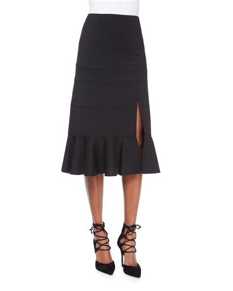 altuzarra paneled ruffle hem slit midi skirt in black lyst