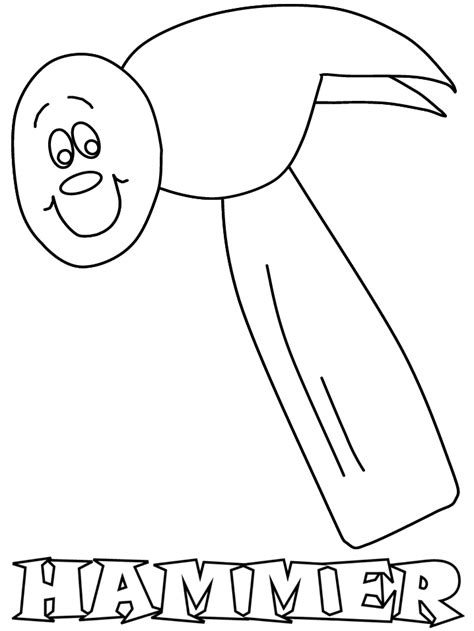 Coloring Page Hammer by Printable Hammer2 Construction Coloring Pages