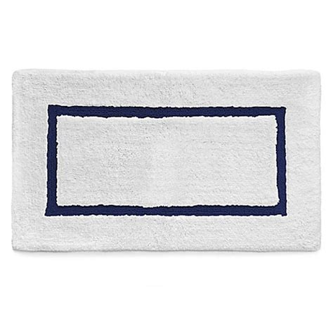 Navy And White Bath Rug Buy Kassatex Baratta Turkish Cotton Bath Rug In White Navy From Bed Bath Beyond