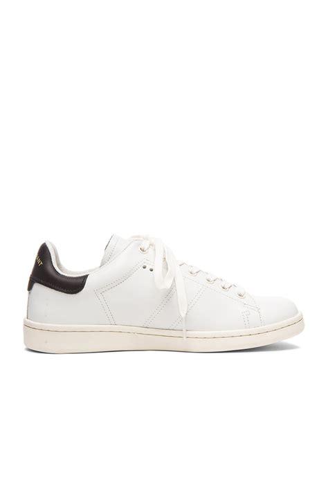marant bart sneaker marant etoile bart leather sneakers in white fwrd