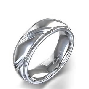 Men S Unique Centre Angle Design Wedding Ring In 14k White