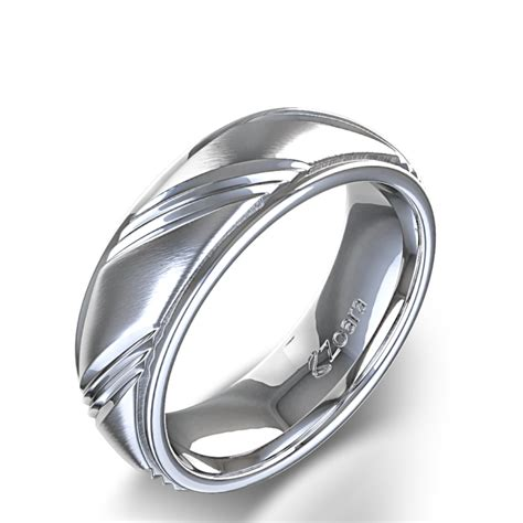 Men?s Unique Centre Angle Design Wedding Ring in 14k White