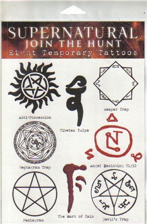 tattoo tv shows list supernatural tv series set of 8 temporary runes tattoos