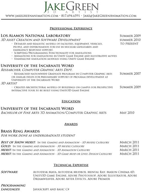 character animator illustrator resume sle resume format resume format for animation