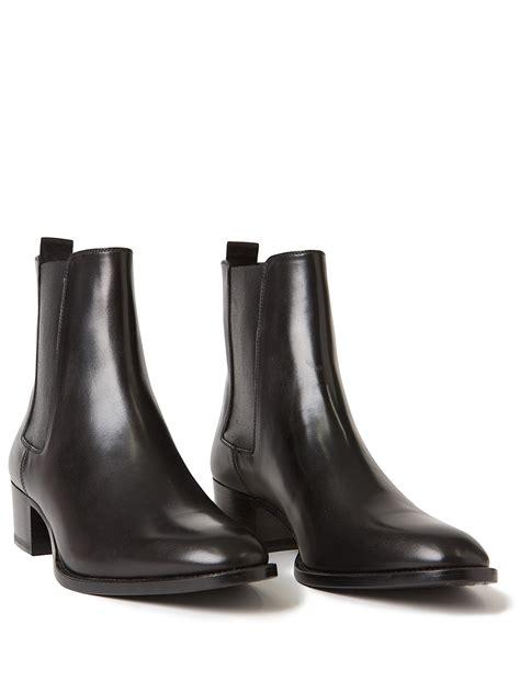 wyatt boots laurent wyatt leather chelsea boots in black lyst