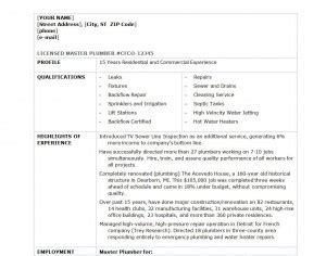 plumber resume template word templates