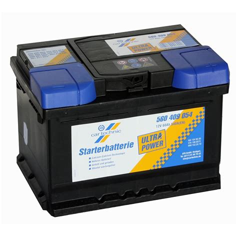 Auto Starterbatterie autobatterie cartechnic ultra 12v 60ah 540a
