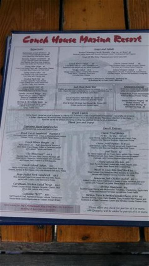 Conch House Menu by Tree House Seating At The Conch House St Augustine Fl