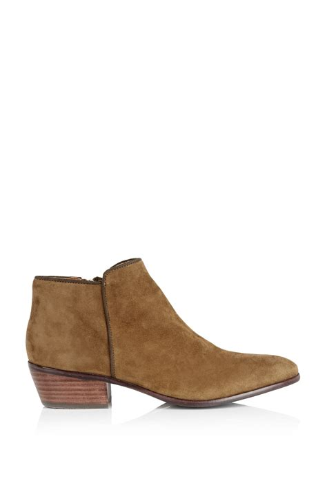 sam edelman moss green petty flat suede ankle boot in