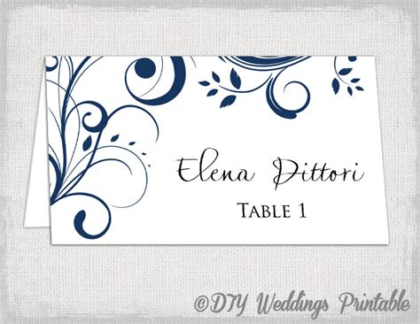 Place Card Template Navy Blue Scroll Name Cards Free Place Card Templates