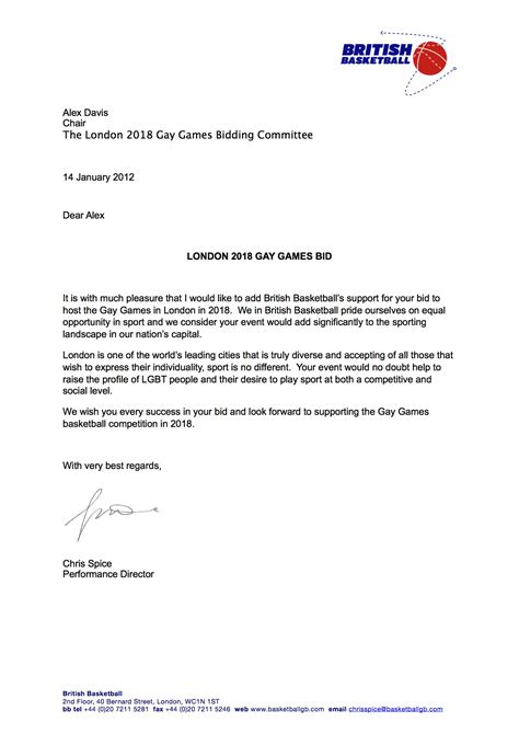 british basketball letter of support games london