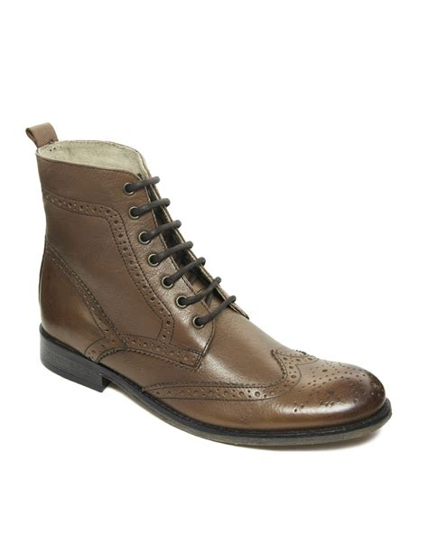 leather sole boots asos brogue boots with leather sole in brown for