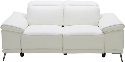 White Leather Reclining Loveseat by Gaia White Leather Power Reclining Loveseat 18253 L J M