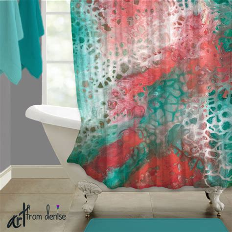 turquoise and coral bathroom teal coral gray abstract shower curtain art aqua seafoam