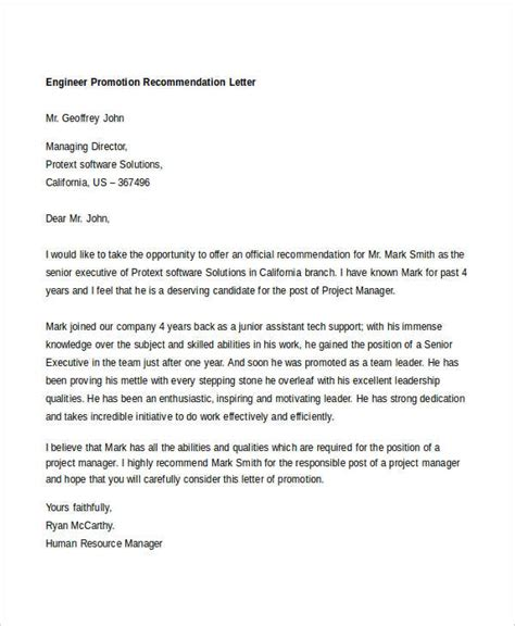 Recommendation Letter For Engineer 10 promotion recommendation letters free premium templates