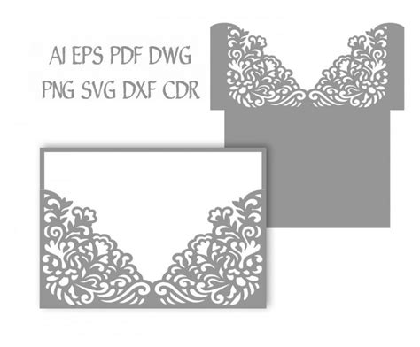 free card templates for silhouette cameo 5x7 wedding invitation pocket envelope svg template
