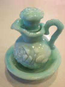 Green Milk Glass Vase Vintage Green Blue Avon Bottle Bud Vase By