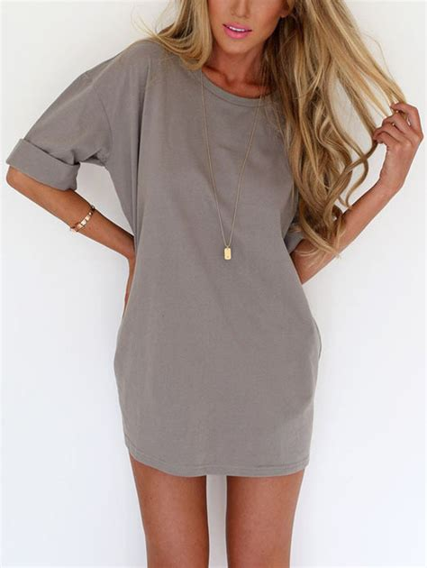 muland gray v neck t shirt and knee grey neck inch half sleeve dress emmacloth