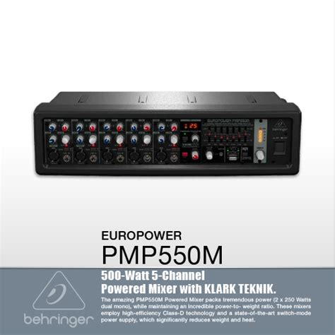 Behringer Pmp550m 500 Watt 5 Channel Power Mixer With Wireless Option เพาเวอร ม กเซอร เพาเวอร ม กเซอร behringer