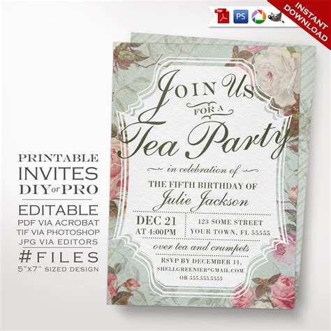 diy vintage rose tea party theme birthday invitation