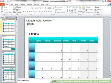 how to make calendars how to make a printable calendar using powerpoint 9 steps