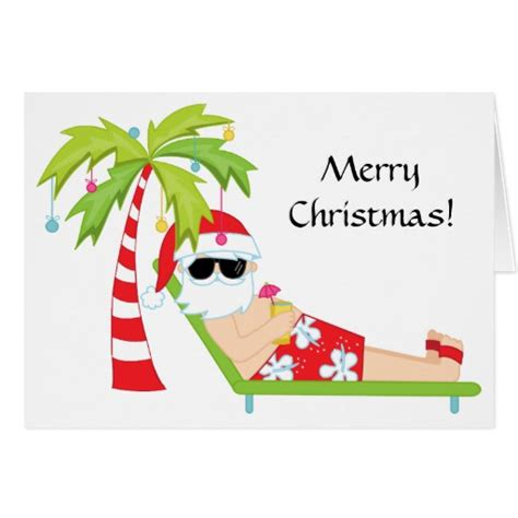 tropical palm tree santa claus christmas card zazzle