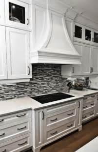 Black Glass Tiles For Kitchen Backsplashes Gorgeous Kitchen With Crisp White Cabinetry Marble