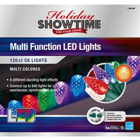 holiday showtime 120ct led faceted c6 light set with 8