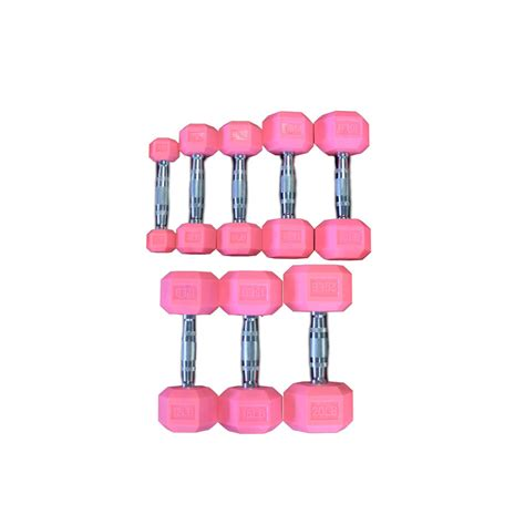 Dumbell Pink pink rubber hex aerobic dumbbell set of singles