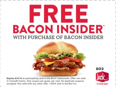 Jack In The Box Sweepstakes - jack in the box buy one bacon insider and get one free coupon
