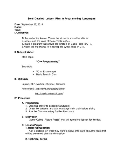 Semi Detailed Lesson Plan In Programming Languages Detailed Template