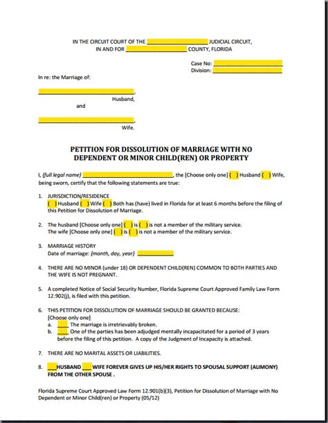 Florida Divorce Search Form 12 901b3 Petition Dissolution Of Marriage No Children