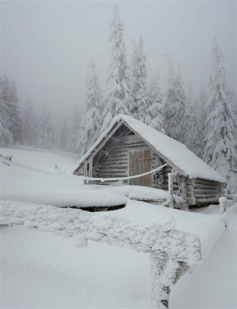 snowy cabin winter pinterest