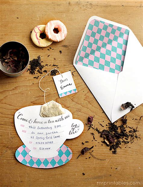 tea bag card template printable tea invitations mr printables