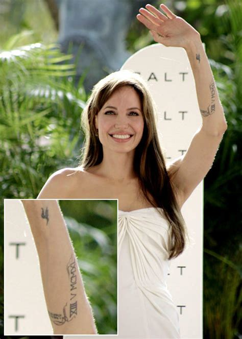angelina jolie tattoo roman numeral angelina gets jolie new tattoos ny daily news