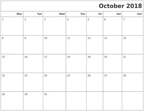 printable calendar oct 2018 october 2018 calendars to print