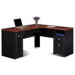 Walmart L Shaped Computer Desk Bush Fairview Collection L Shaped Desk Antique Black And Cherry Box 1 Of 2 Walmart