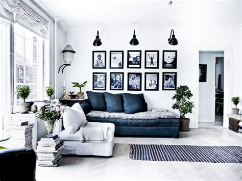 black white living room navy blue walls black and white lights background black