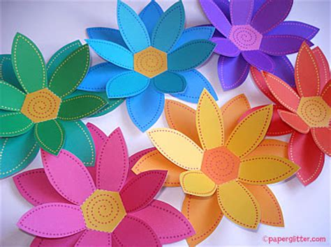 Craft Paper Flowers - paper glitter downloads printables paper crafts