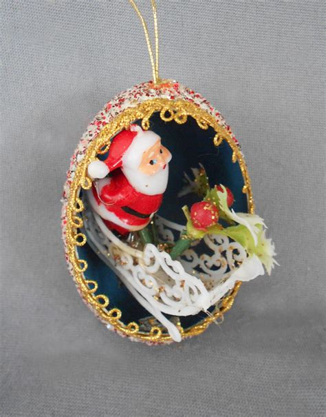vintage diorama egg ornaments 1940s 1950s vintage genuine goose egg diorama ornament modern santa with fancy